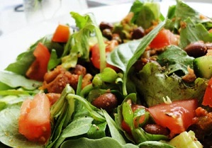Warm 'pizza' borlotti bean and avocado salad